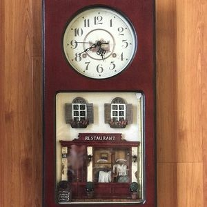 Other - VINTAGE burgundy red wall clock